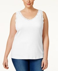 Karen Scott Plus Size Lace Trim Tank Top Only At Macy's Bright White