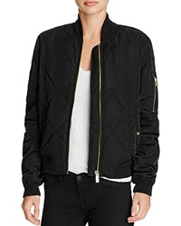 Aqua Quilted Bomber Jacket Black