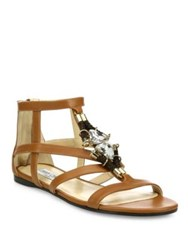 Jimmy Choo Nano Jeweled Leather Flat Sandals Brown
