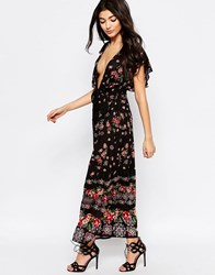 Liquorish Lightweight Maxi Dress With Frill Sleeves In Floral Border Print Black