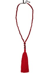 Oscar De La Renta Tasseled Silk Beaded Necklace Claret