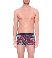 Ted Baker Floral Print Stretch Cotton Boxers Grey Marl