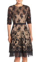 Eliza J Lace Mesh Fit And Flare Dress Regular And Petite Black
