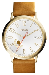 Fossil 'Vintage Muse' Leather Strap Watch 40Mm Tan Gold
