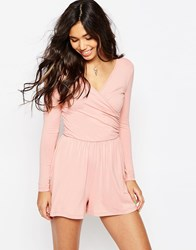 Asos Jersey Ruched Wrap Front Playsuit Rose Pink Black