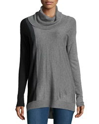 Neiman Marcus Cowl Neck Colorblock Tunic Black Gray
