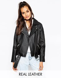 Asos Leather Biker Jacket In Boxy Fit With Eyelet Embellishment Black