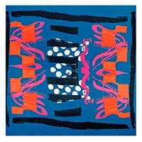 Bianca Elgar Multicolour Summer Square Scarf Black White Blue