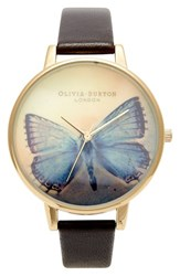 Women's Olivia Burton 'Woodland Butterfly' Leather Strap Watch 38Mm