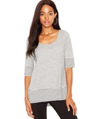 Maison Jules Elbow Length Sleeve Scoop Neck Top