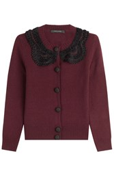 Marc Jacobs Wool Cardigan With Crochet Red
