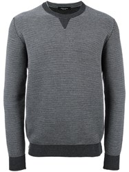 Roberto Collina Bicolour Crew Neck Jumper Grey