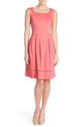 Women's Ellen Tracy Square Neck Sateen Fit And Flare Dress Coral