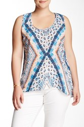 Halo Printed Woven Tank Plus Size Pink