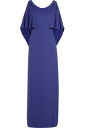 Halston Draped Georgette Gown Blue