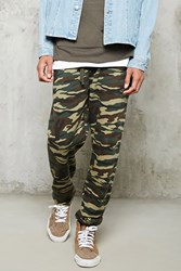 Forever 21 Camo Print Sweatpants Olive Black