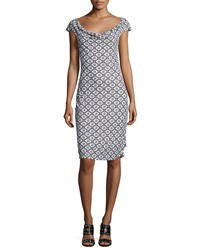 Tory Burch Cowl Neck Cap Sleeve Printed Dress White Pattern