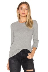 James Perse Brushed Jersey Long Sleeve Tee Light Gray