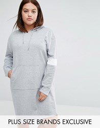 Daisy Street Plus Jersey Hoodie Dress With Pocket Detail Grey