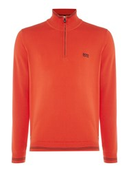 Hugo Boss Zime Zip Through Funnel Neck Cardigan Orange