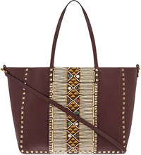 Valentino Tribal Medium Leather Tote Burgundy