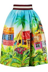 Stella Jean Printed Cotton Skirt Blue