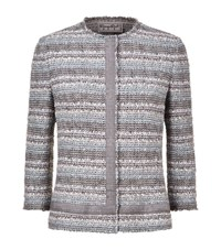 Giorgio Grati Striped Boucle Jacket Female Light Grey