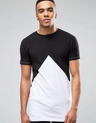 Asos Longline Muscle T Shirt With Triangle In Black White Blackwhite
