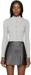Alexander Wang Grey Cropped Ribbed Cardigan