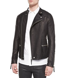Helmut Lang Asymmetrical Leather Rider Jacket Black