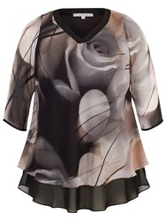 Chesca Misty Rose Tunic Top Black Nude