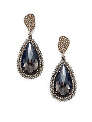 Bavna Sapphire Champagne Diamond And Sterling Silver Teardrop Earrings Dark Sapphire