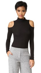 Lanston Cold Shoulder Turtleneck Top Black