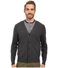 Nautica 12 Gauge Jersey Cardigan Charcoal Heather Men's Sweater Gray