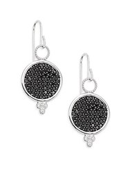 Jude Frances Black Spinel White Sapphire And Sterling Silver Earrings Silver Black