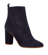 Maje Snake Effect Suede Ankle Boot Female Blue