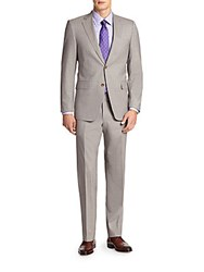 Saks Fifth Avenue Samuelsohn Pinstriped Two Button Wool Suit Grey