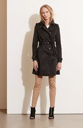 Lauren Ralph Lauren Petite Women's Faux Leather Trim Trench Coat Black Black
