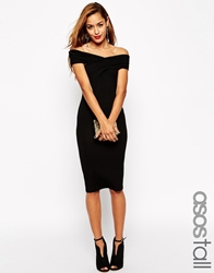 Asos Tall Bodycon Dress With Bardot Shoulder And Cross Front Detail Black