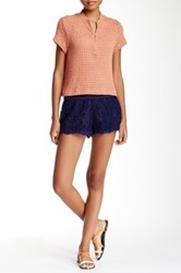 Poof Embroidered Lace Short Blue