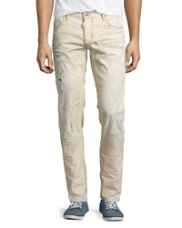 Antony Morato Distressed Stripe Slim Fit Jeans Beige