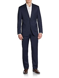 Saks Fifth Avenue Red Trim Fit Pinstripe Wool Suit Navy Stripe