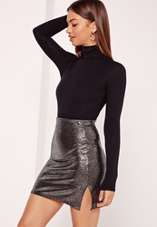 Missguided Metallic Double Split Mini Skirt Silver