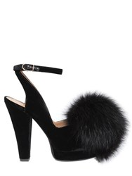 Sonia Rykiel 120Mm Velvet Sandals W Fox Fur Pom Pom