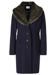 Kaliko Vintage Faux Fur Collar Coat Navy