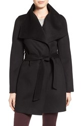 T Tahari Petite Women's 'Ella' Belted Double Face Wool Blend Wrap Coat Black