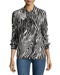 Equipment Brett Button Front Zebra Print Blouse Marshmallo