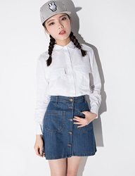Pixie Market Denim Button A Line Mini Skirt