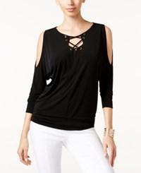 Thalia Sodi Dolman Sleeve Lace Up Top Only At Macy's Deep Black