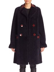 Diane Von Furstenberg Grayson Reversible Shearling And Leather Peacoat Royal Navy Red Onyx